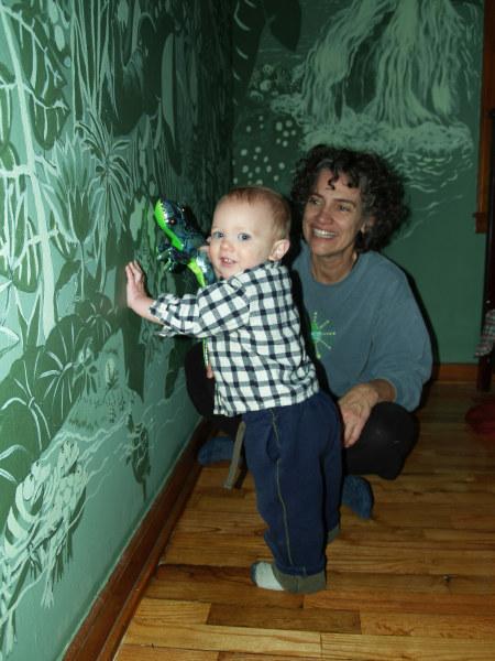 Maxx tries to insert lizard in mural 009