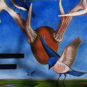 Mike Brewer Deer Rack & BluebirdsDetail