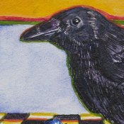 Raven on Red Bowl Detail
