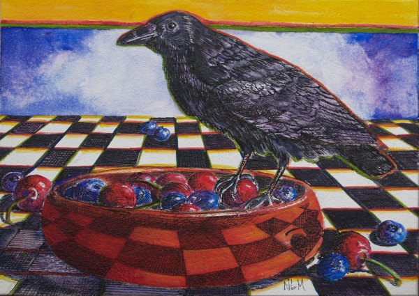 Raven on Red Bowl