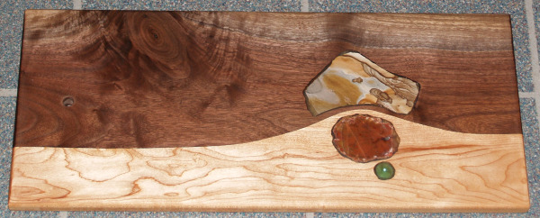 Cutting Board with rocks and glass